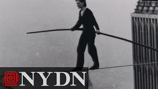 Philippe Petit Walks a Tightrope Between the Twin Towers in 1974