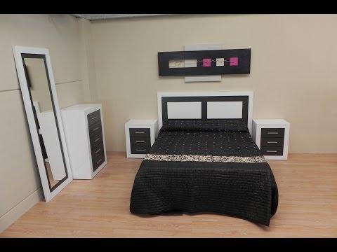 Dormitorio completo: cabezal, mesita de noche, sinfonier y espejo color blanco y negro grafito