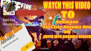 How To Enter In Free Fire Advance Server    Download Free Fire Advance Apk