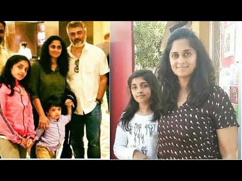 Actor Ajith Family with Wife Shalini  Daughter Anoushka & Son Aadvik
