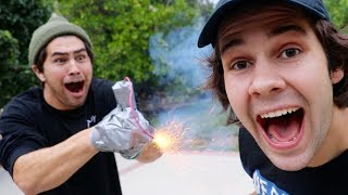 TAPING A FIREWORK TO HIS HAND!! (EXPLOSION)