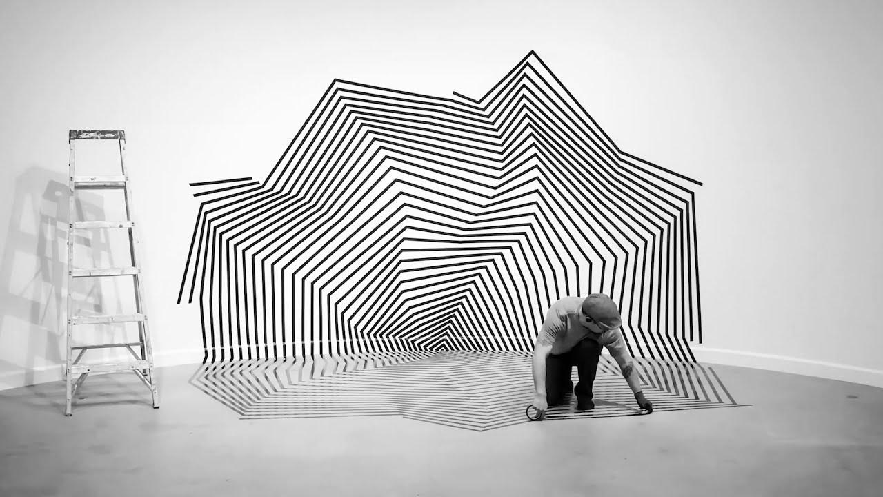 art installation using black tape by darel carey