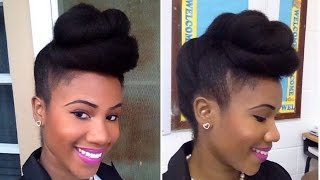 Twisted Pompadour | Roll, Tuck & Pin Updo on Natural Hair
