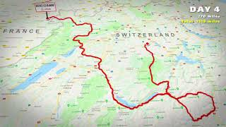 Motorcycle trip London to the Swiss Alps. Animated route map