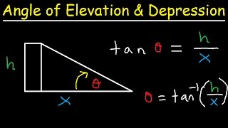 Angle Of Elevation And Depression Word Problems Trigonometry, Finding Sides, Angles, Right Triangles