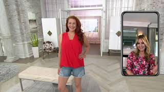 Laurie Felt Classic Denim Weekender Shorts with Crochet Details on QVC