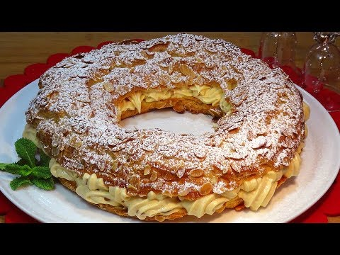 Corona de Navidad (París Brest relleno de crema de turrón) - Recetas de cocina, paso a paso