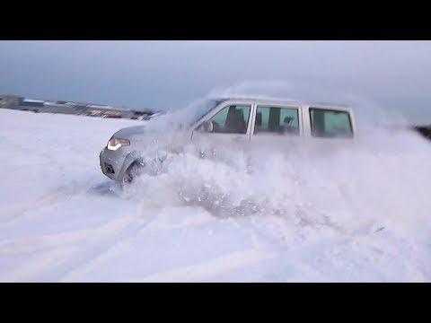 Уаз в снегу, снежный плен полный сток