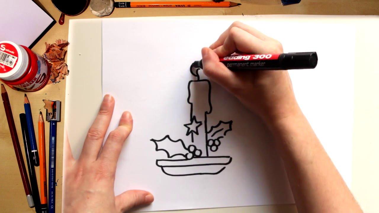 Como dibujar una Vela - dibujos de Navidad para niños