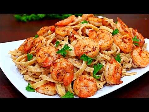 Video Skinny Cajun Shrimp Alfredo Pasta Recipe - Healthy Alfredo pasta