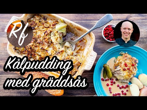 Kålpudding med gräddsås - klassisk svensk husmanskost med fin och prisvärd vitkål samt köttfärs som lagas i en form i ugnen. Här med förslag på tillbehör.>