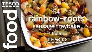Sausage and root veg traybake