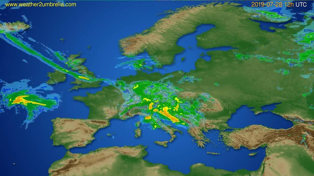 Radar forecast Europe // modelrun: 00h UTC 2019-07-28