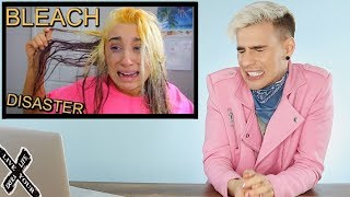 HAIRDRESSER REACTS TO MCKENZIE MARIE FRYING HER HAIR WITH BLEACH! |bradmondo