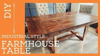 DIY EASY FARMHOUSE TABLE  INDUSTRIAL STYLE  DINING ROOM TABLE