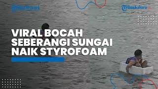 Viral Video Bocah di OKI Seberangi Sungai Naik Styrofoam, Begini Penjelasan dari Camat
