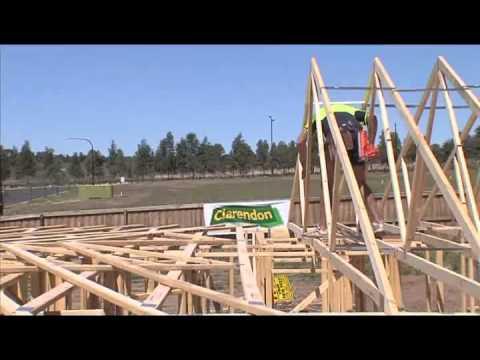 Safe erection of roof trusses