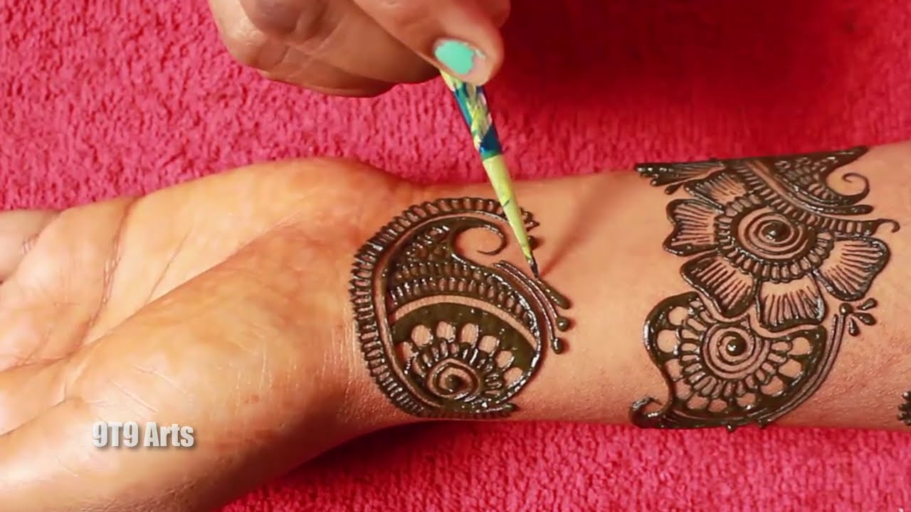 stylish bangle mehndi design for hands by 9t9 arts