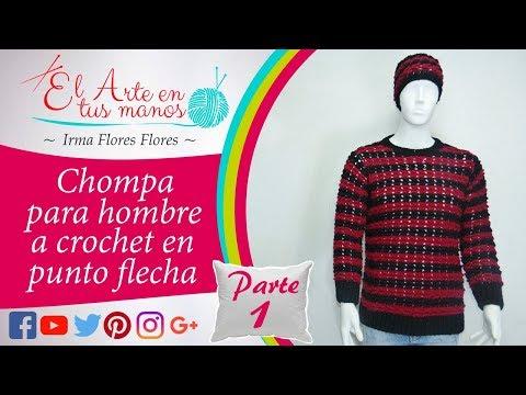 CHOMPA PARA HOMBRES EN EL PUNTO FLECHA RÁPIDO DE TEJER A CROCHET