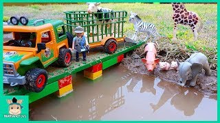 PLAYMOBIL Wild Animal Transport Truck | Learn Animals Name & Sound Cow Rescue Truck | MariAndToys