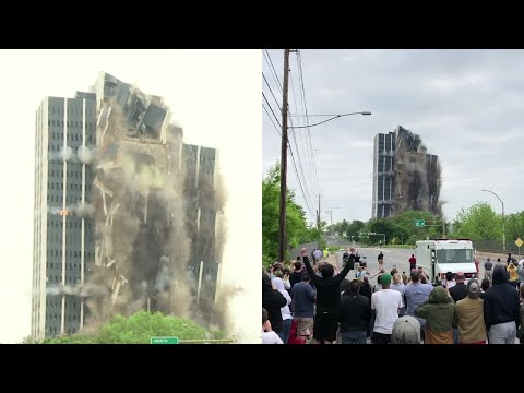 Sixteen thousand tons of Bethlehem Steel collapsed in a matter of seconds Sunday as a demolition crew imploded Martin Tower, the defunct steelmaker's former world headquarters in Bethlehem, Pennsylvania. (May 19)