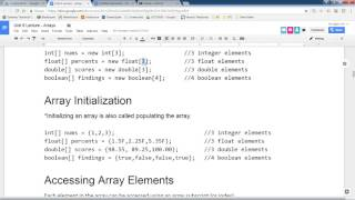 Java Programming 1 - Intro to Arrays, Declaration, Initialization, Iteration, Parallel Arrays