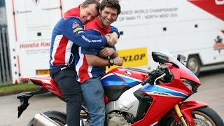 Guy and new Honda teammate John McGuinness get down to talking business