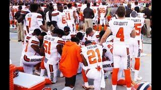 TWELVE Cleveland Browns Take A Knee During National Anthem