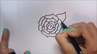 Cartoon roos/rose tekenen! | 'How to draw' #44