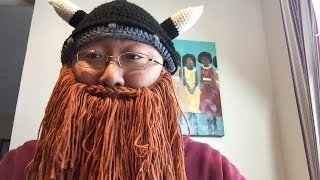 Viking Barbarian Beard Mustache Knit Hat Beanie