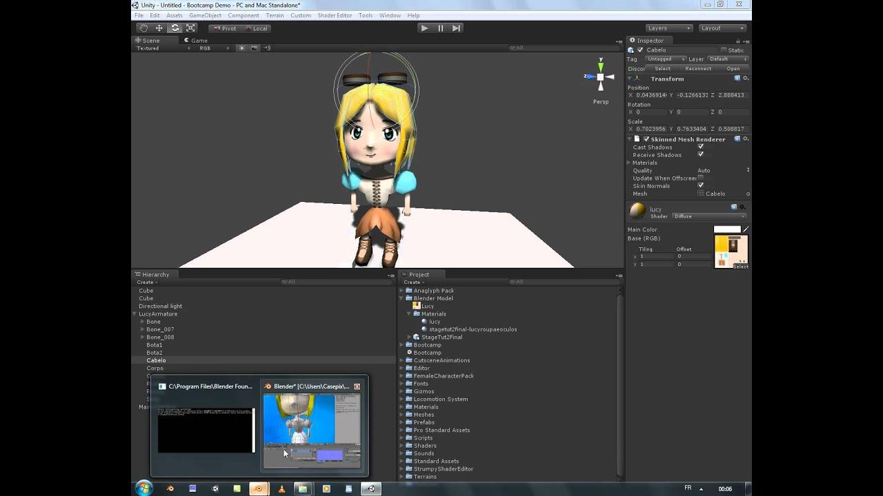 Unity 3d Tuto 7 _  Export d'un personnage avec animation de Blender a Unity