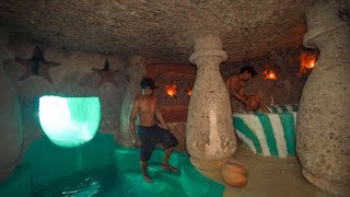 How To Build The Survival Temple Secret Underground House Water Slide To Swimming Pool