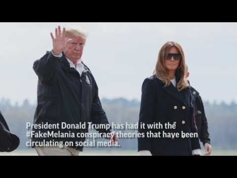 President Donald Trump lashes out at the media about the #fakeMelania conspiracy theories circulating on social media. (March 13)