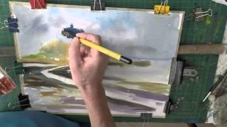 Easy Landscape, Seascape Watercolour Painting Part 1