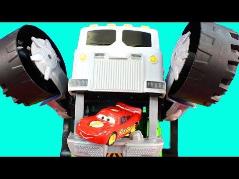 Disney Pixar Cars Lightning McQueen Dreams Mini Adventures Cars Gets Eaten By Garbage Truck Stinky