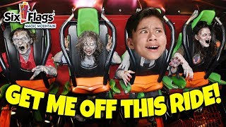 WHO IS BRAVER CHALLENGE!!! Scary Rides and Monsters at Fright Fest Six Flags Magic Mountain!