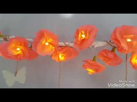 Blumen-Lichterkette aus Krepppapier selber machen