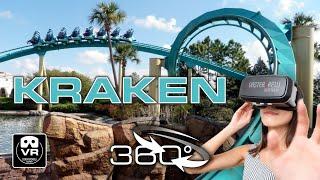 360° Roller Coaster KRAKEN unleashed | VR POV | SeaWorld Orlando Achterbahn Montaña Rusa #360video