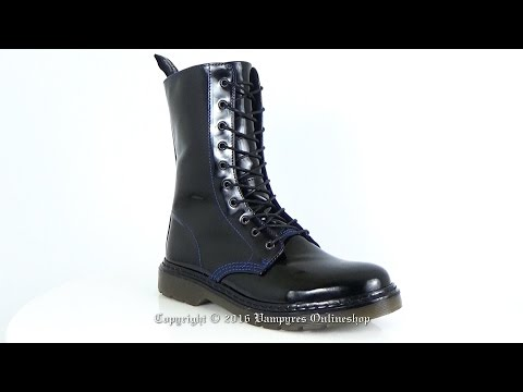 Boots And Braces 10-Loch Easy Lack Schwarz Blaue Naht