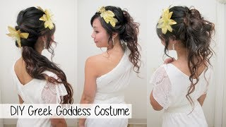DIY Greek Goddess Costume l Hair Accessories & No Sew Toga
