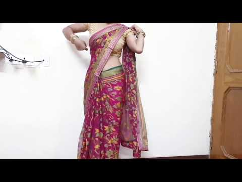 How to drape Double Border Saree for College Farewell, Party step by step tutorial