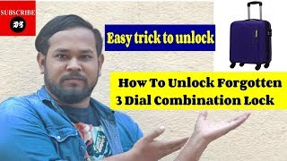 How to unlock a 3 digit combination lock | how to unlock safari trolley bag 2018-2019