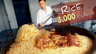 Trying Street Food in Uzbekistan, MASSIVE 3,000 POUND Rice Dish (Plov) & Traditional Market Tour