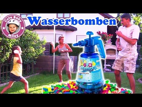 WASSERBOMBEN SCHLACHT | 150 WASSERBALLONS in der Flasche | 🎈Water Ballon Fight 🎈 | CuteBabyMiley