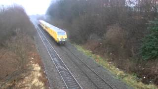 preview picture of video 'Deeside 21.1.2015 - DBS 67027 & Network Rail DVT 82145 on test train - nr Chester'