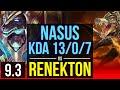 NASUS vs RENEKTON TOP KDA 13 0 7 Legendary EUW Master v9 3