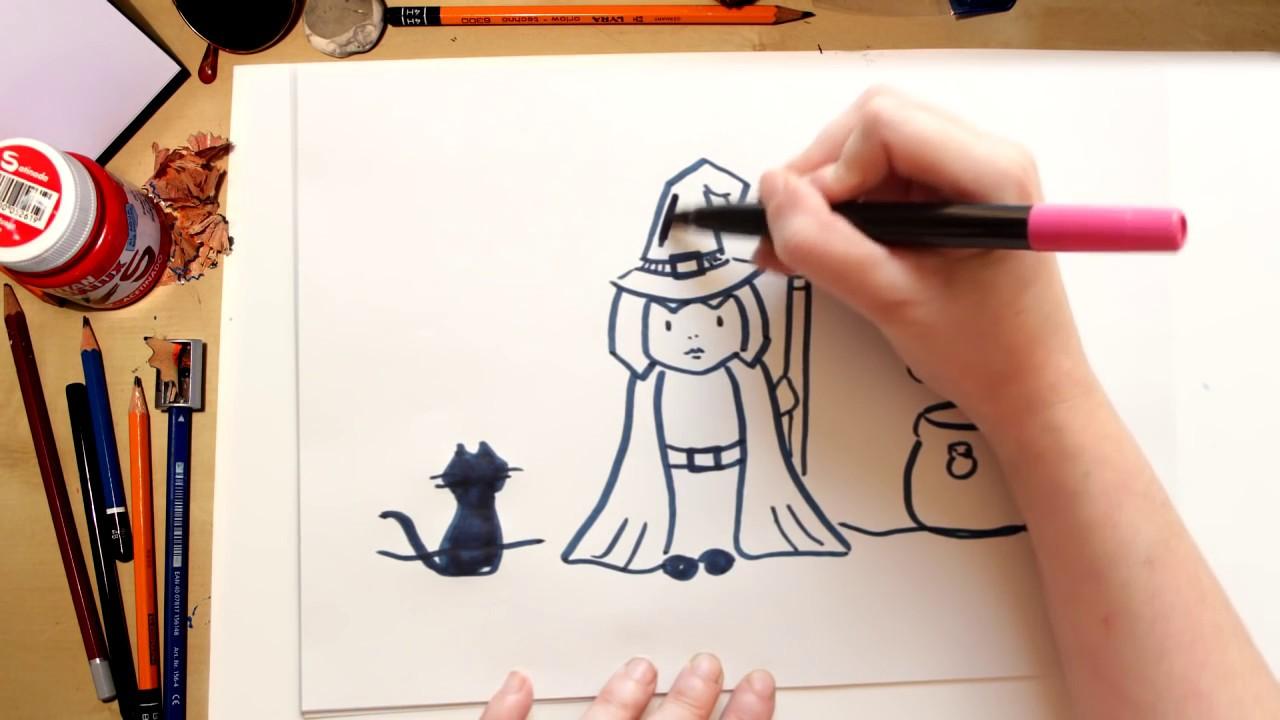 Como desenhar uma Bruxa - desenhos de Halloween para crianças