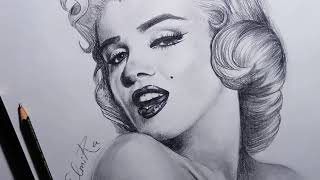 How to Draw Marilyn Monroe Step by Step [pencil drawing]