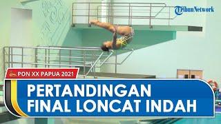 Pertandingan Final Loncat Indah 3 Meter Putri di Arena Akuatik Kampung Harapan