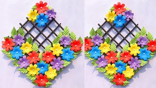 Easy Home Decor Craft Idea 🌺 Homemade Paper Flowers Wall Hanging 🌸 Diy Origami Flower Wall Art